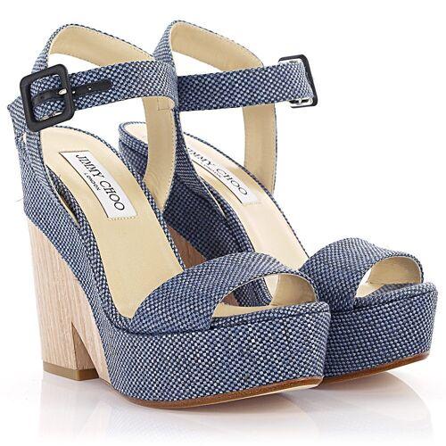 Jimmy Choo Sandalen Clogs Nico Plateau Bast gewebt blau