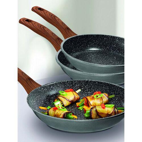 STONELINE 3tlg. Pfannenset plus 3 Keramikmesser Stoneline schwarz/braun