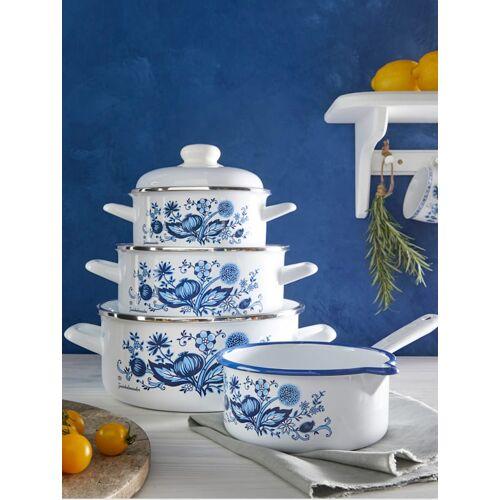 G.S.W. 7tlg. Kochtopf-Set 'Zwiebelmuster' G.S.W. weiß mit blauem Zwieblmusterdekor