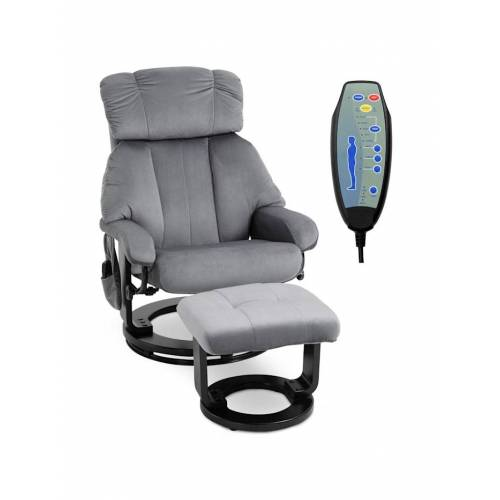 HOMCOM Massagesessel mit Fußhocker HOMCOM grau