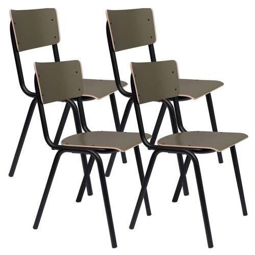 Zuiver Back to School Stuhl 4er-Set Grün