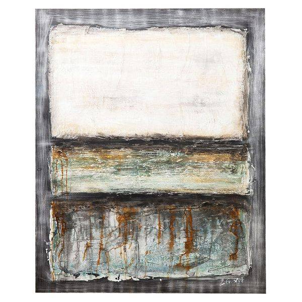KARE Ölbild Abstract Grey Line One 120x150cm  Hellgrau