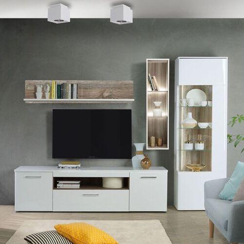 Forte Babila Wohnwand mit Beleuchtung 4-tlg. Weiß