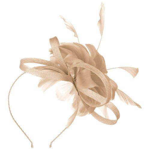 McBURN Cila Sinamay Fascinator Haarschmuck Haarreifen Kopfschmuck Brautschmuck Brauthut hellbraun One Size