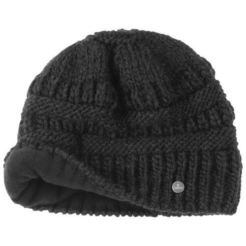Lierys Mütze mit Zopfloch für Pferdeschwanz Wollmütze Damenmütze Wintermütze Beanie Strickmütze schwarz One Size