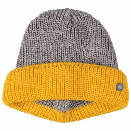 Hammaburg Twotone Dockermütze Dockercap Strickmütze Herrenmütze Wollmütze Mütze grau-gelb One Size