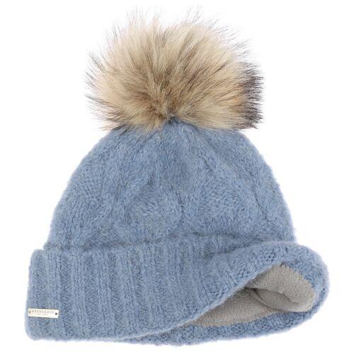 Seeberger Mina Bommelmütze mit Alpakawolle Strickmütze Wintermütze Wollmütze blau One Size