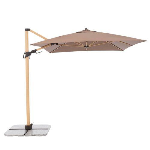 Doppler Alu Wood Pendelschirm mit Standkreuz ohne Beschwerungsplatten  braun