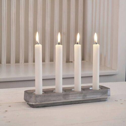 Born in Sweden Stumpastaken Kerzenständer lang  grau