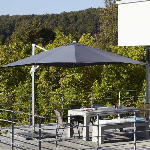 ikarus Ampelschirm inkl. Schirmständer ohne Beschwerungsplatten  grau
