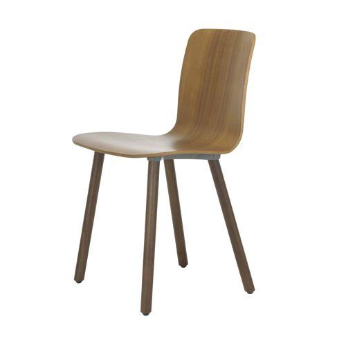 Vitra HAL Ply Wood Stuhl mit Kunststoffgleitern  braun