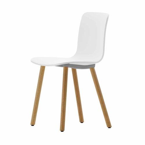 Vitra HAL Wood Stuhl mit Kunststoffgleitern  weiss