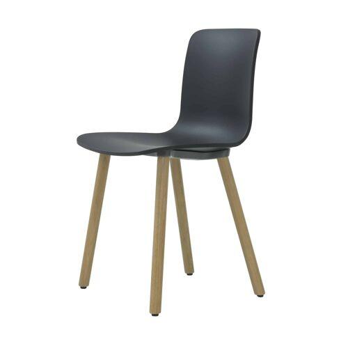 Vitra HAL Wood Stuhl mit Kunststoffgleitern  schwarz