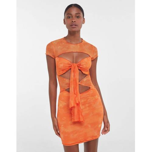 Bershka Kurzes Tüllkleid Mit Tie-Dye-Print Und Cut-Outs Damen M Orange