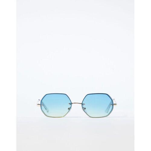 Bershka Sechseckige Sonnenbrille Herren Gold