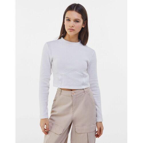Bershka Rückenfreies Shirt Damen M Weiss