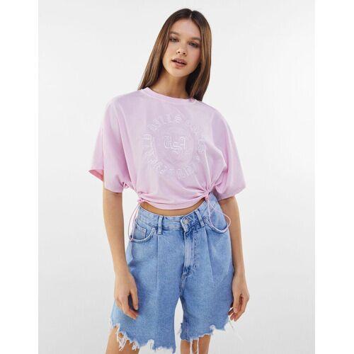 Bershka An Der Seite Anpassbares Shirt Damen L Rosa