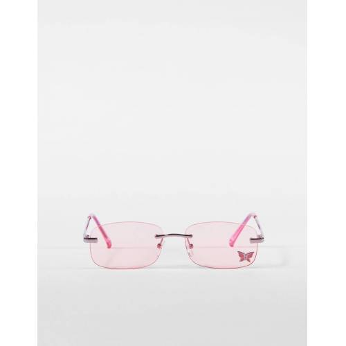 Bershka Sonnenbrille Mit Schmetterling Damen Rosa