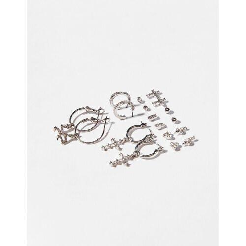 Bershka Set Ohrringe Damen Silber