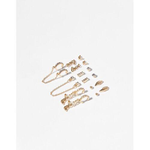 Bershka 9er Set Ohrringe Mit Engel Damen Gold