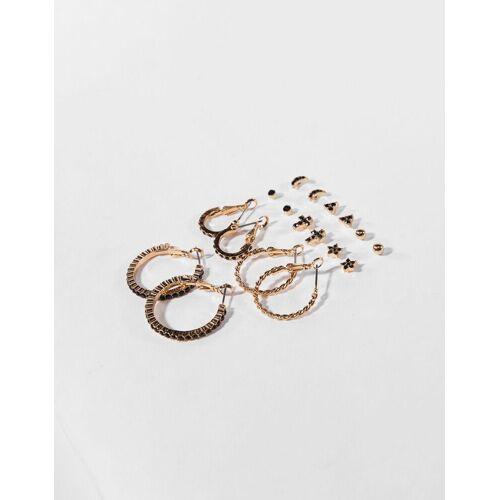Bershka Set Ohrringe Damen Gold