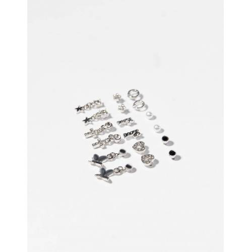 Bershka 9er-Set Ohrringe Mit Herz Damen Silber
