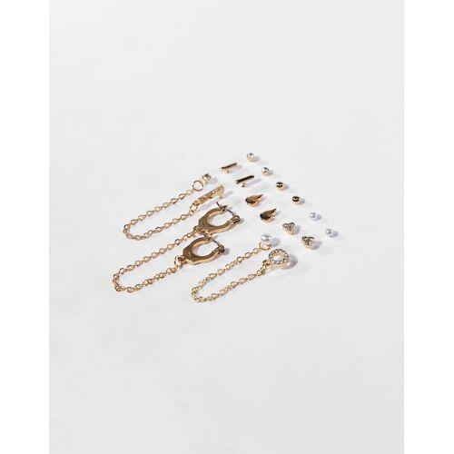 Bershka 9er-Set Ohrringe Mit Perlen Damen Gold