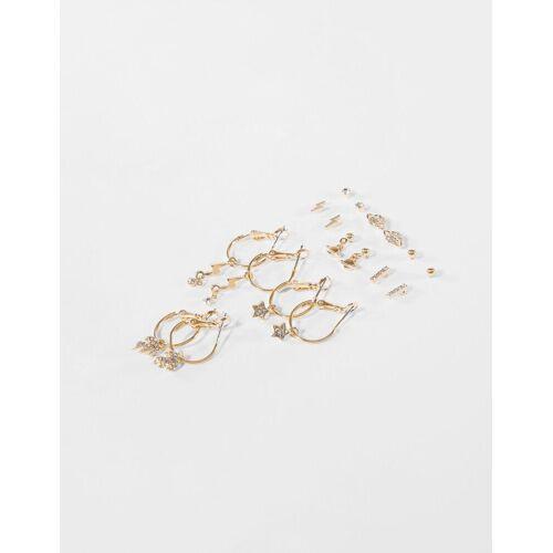 Bershka Set Mit 9 Ohrringen Damen Gold