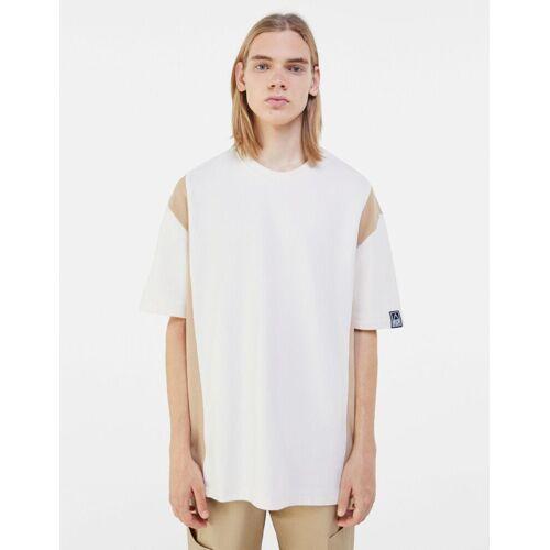 Bershka Zweifarbiges T-Shirt Herren S Sandfarbe