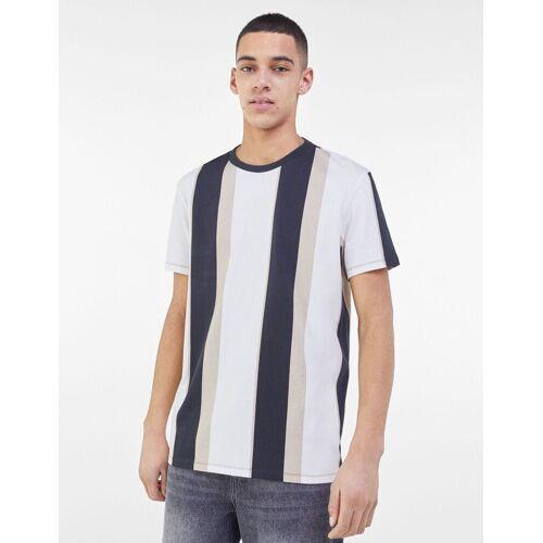 Bershka T-Shirt Im Easy Fit Mit Längsstreifen Herren L Sandfarbe