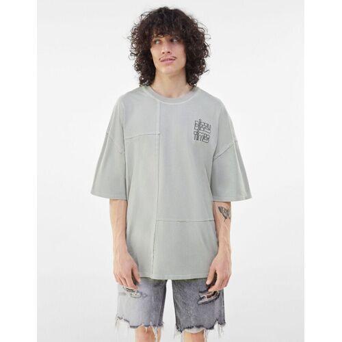 Bershka T-Shirt Mit Stickerei Und Print Herren Xl Grau