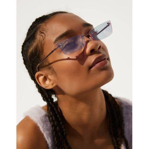 Bershka Rechteckige Sonnenbrille Mit Spiegelgläsern Damen M Rosa