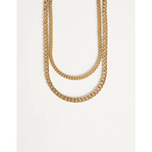 Bershka Halskette Im Ketten-Look Herren M Gold