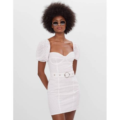 Bershka Besticktes Kleid Mit Gürtel Damen M Rohweiß