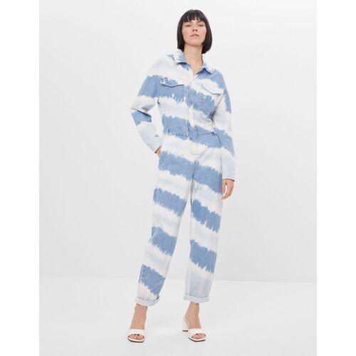 Bershka Jeans-Jumpsuit mit Tie-dye-Print