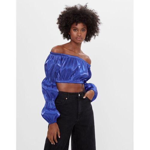 Bershka Glänzende Bluse Mit Carmen-Ausschnitt Damen S Blau