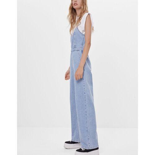 Bershka Jeans-Latzhose mit weitem Bein