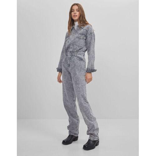 Bershka Lange Jeans-Latzhose Damen M Grau