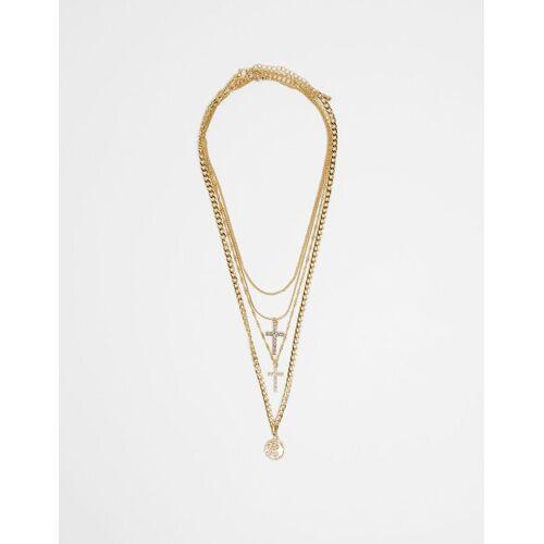 Bershka Halskette Mit Drachen Und Kreuzen Damen M Gold
