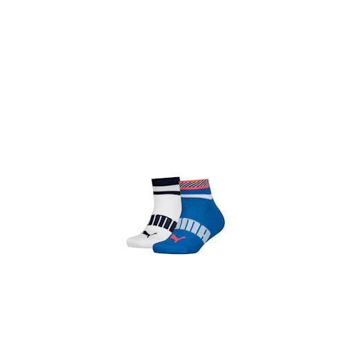 Puma Stripe Jungen Quarter Socken 2er Pack für Kinder - Rot/Blau