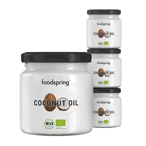 foodspring Bio Kokosöl im 4er Beauty Paket - Für Gesicht, Körper und Haar