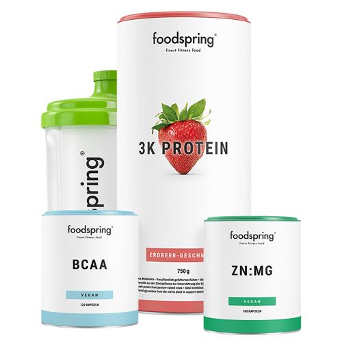 foodspring Ausdauer Paket - 3K Protein Erdbeere, BCAA & ZN:MG