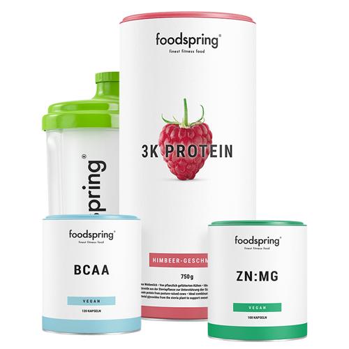 foodspring Ausdauer Paket - 3K Protein Himbeere, BCAA & ZN:MG