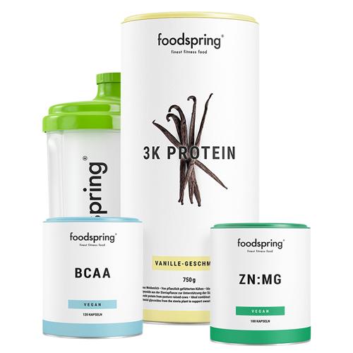 foodspring Ausdauer Paket - 3K Protein Vanille, BCAA & ZN:MG