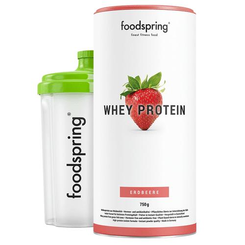 foodspring Whey Protein Shake Erdbeere - Premium Eiweiß für optimalen Muskelaufbau