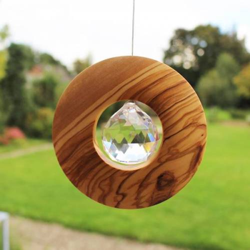 Mitienda Shop Fensterschmuck Scheibe Aus Holz Zum Aufhängen   Mit Bleikristall 40mm