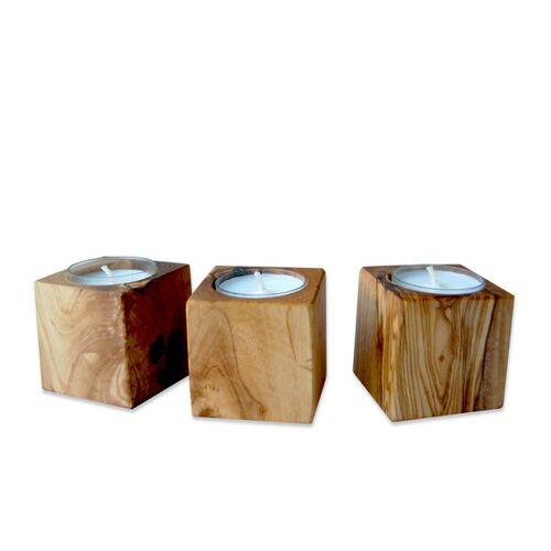 Olivenholz erleben Kerzenhalter Cubo Aus Olivenholz  3er set