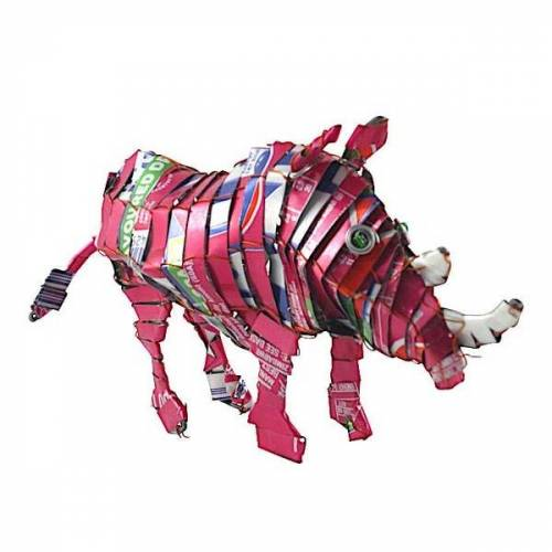Little Zim Nashorn Blechtier - M - Upcycling Township Art Africa
