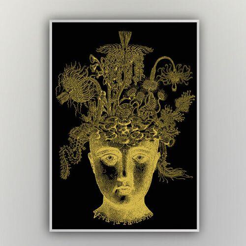 """HANDGEDRUCKT """"Viva La Fantasia"""" A2 Hand-siebdruck-poster schwarz/gold A2"""