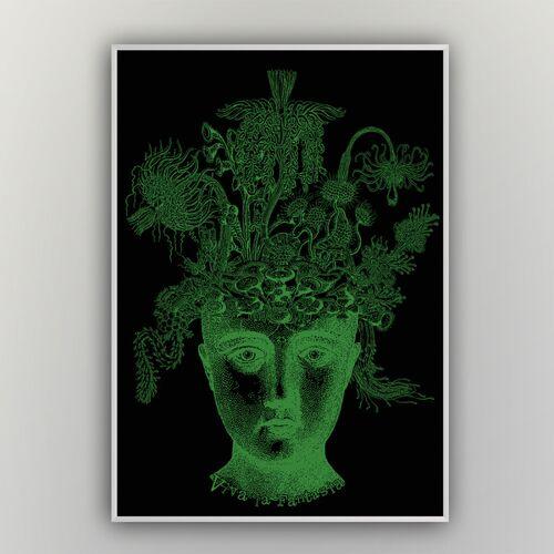 """HANDGEDRUCKT """"Viva La Fantasia"""" A2 Hand-siebdruck-poster schwarz/grün A2"""